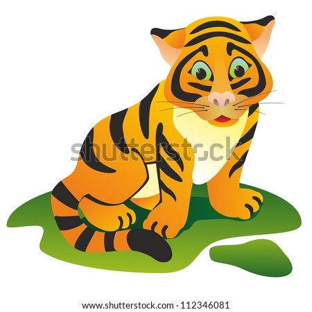 """Orange tiger on a green lawn"""