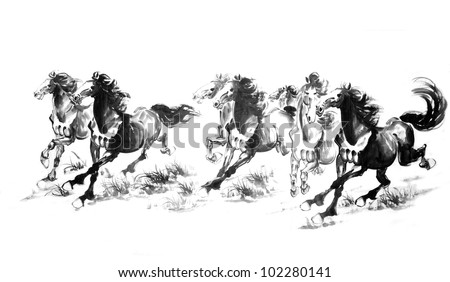 5 Oriental style painting of a running horse, Traditional chinese ink and wash painting. - stock photo
