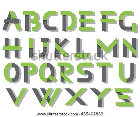 ORIGAMI ALPHABET STYLE WITH SHADOWS GREEN - stock photo