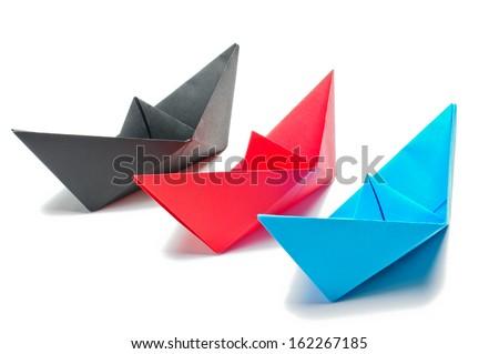 3 origami ships - stock photo