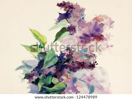 Original abstract water color and  hand drawn painting or   sketch of purple flowers - stock photo