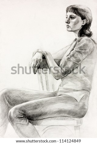Original pastel  or drawing charcoal, and  hand drawn painting or  working  sketch of a woman sitting in a chair.Free composition - stock photo