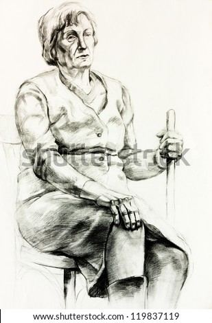 Original pencil  or drawing charcoal, and  hand drawn painting or  working  sketch of a woman sitting and holding a walking stick.Free composition
