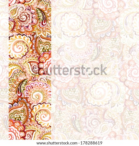 ornamental lace border stripe with red-brown subtle arabic ornament on ornate light backdrop - stock photo