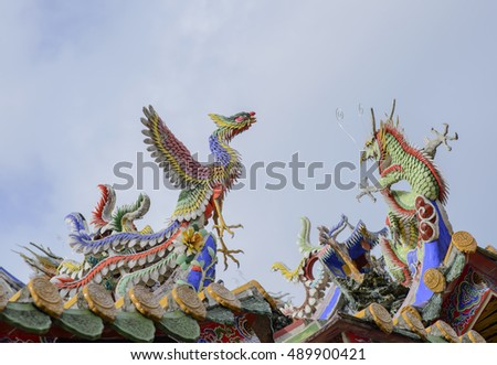 Ornate rooftop of a Chinese Buddhist temple