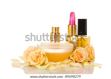 ?osmetics with roses isolated on white - stock photo