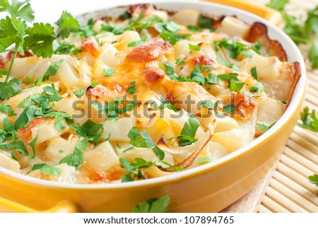 ?otato gratin with cheese and parsley - stock photo