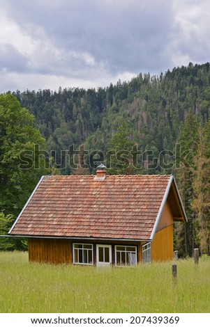 ?ottage on the edge of meadow, Carpathians, Ukraine/?ottage/?ottage on the edge of meadow