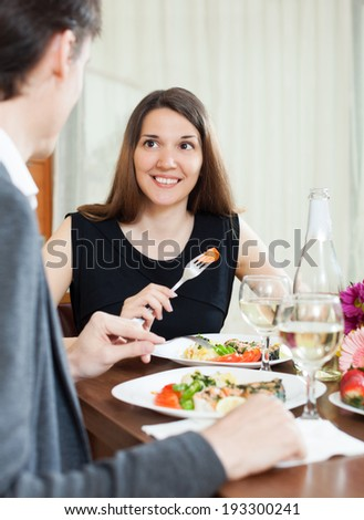 ��¡ouple having romantic dinner with wine in home  - stock photo