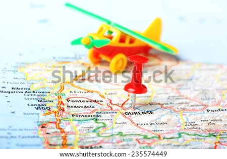 Ourense  ,Spain  map and airplane toy - Travel concept - stock photo