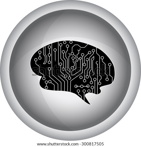 outline illustration of human brain on white background