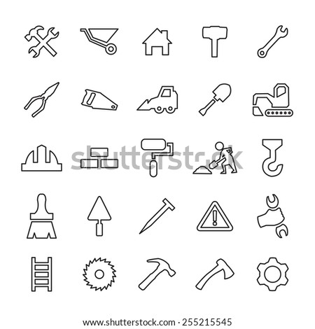 25 outline, universal construction icons, thin, black on white background  - stock photo