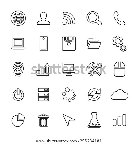 25 outline, universal development icons, thin, black on white background