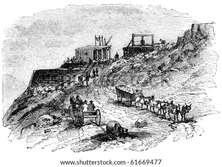 """Outside a silver mine in California"". Illustration originally published in Hesse-Wartegg's ""Nord Amerika"", swedish edition published in 1880. - stock photo"