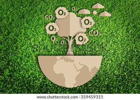 Oxygen. Paper cut of eco on green grass. - stock photo