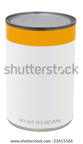 15.5 oz can with blank label. food, groceries, pet, - stock photo