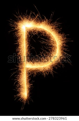 """P"" letter drawn with bengali sparkles isolated on black background - stock photo"