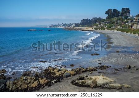 Pacific coast at Concon, near Valparaiso in Chile - stock photo