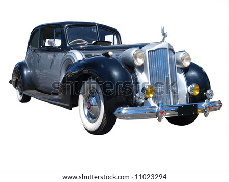 1928 Packard Super 8 Isolated with clipping path - stock photo