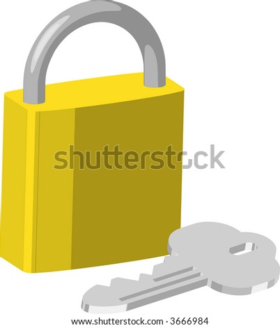 Padlock. An illustration of brass pad lock and keys. Raster version