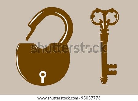 padlock silhouette on brown background - stock photo