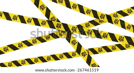404: Page Not Found Barrier Tape Background - stock photo