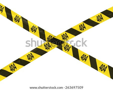 404: Page Not Found Barrier Tape Cross for Web Design - stock photo