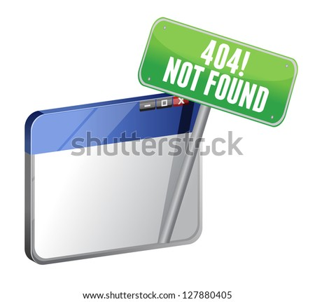 404 Page Not Found browser illustration design over white - stock photo