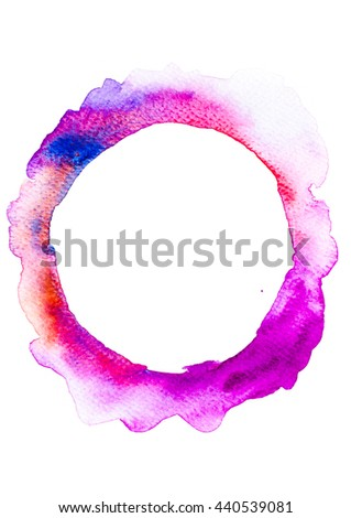 Painted design element.  Circle banner. Colorful watercolor. Abstract hand painted backgrounds. - stock photo