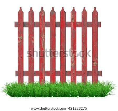 Painted red paint on the fence on the lawn. 3D illustration                               - stock photo