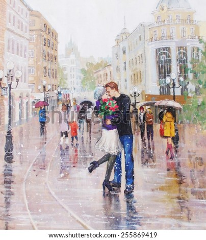 painting, a pair of lovers under an umbrella,  - stock photo