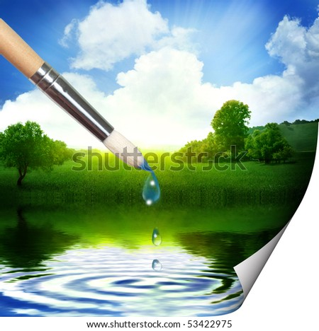 Painting beautiful landscape - stock photo