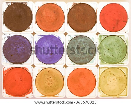 Painting tools and colour palette vintage - stock photo