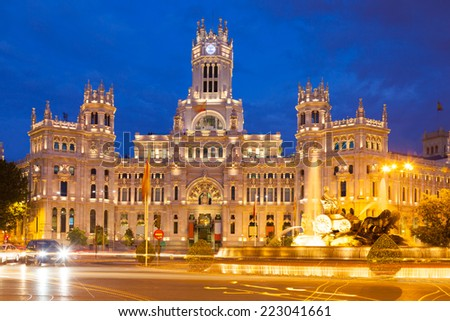 Palacio de Cibeles in summer evening. Madrid, Spain - stock photo