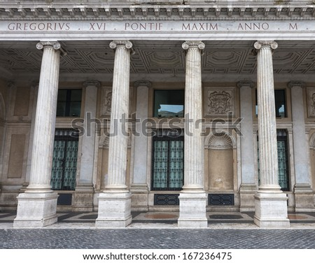 Palazzo Montecitorio is a palace in Rome and the seat of the Italian Chamber of Deputies - stock photo