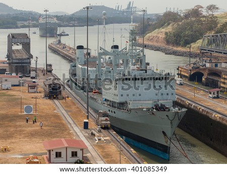 PANAMA - MARCH 21: The Panama Canal, Miraflores Locks, March 21, 2016 in Panama