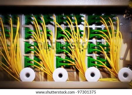 panel of of Fiber Optics Switch - stock photo
