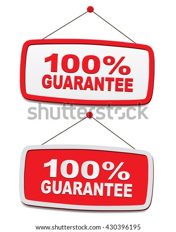 panels with text - 100% guarantee - stock photo