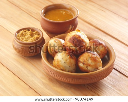 paniyaram   traditional , southindian food, Vada breakfast, chutney coconut ,samber, indian food, - stock photo
