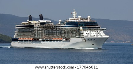 .Panorama cruises on Evrope. Collection of yachts and ships - stock photo