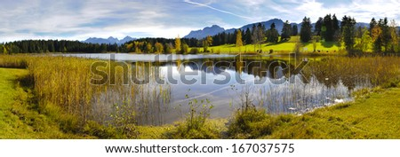 panorama view over beautiful rural landscape nearby city Fuessen in Bavaria, Germany - stock photo