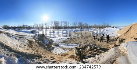 360 panorama, winter landscape trees in frost and snow drifts on the river on a bright sunny day  - stock photo