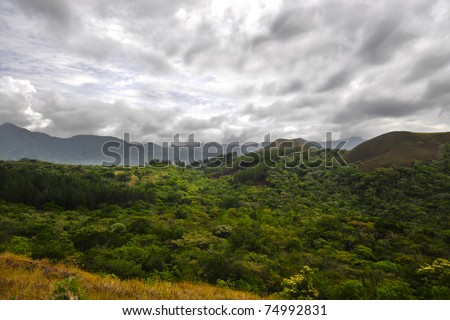 Panoramic view of a mountain range in the mountains of central Panama