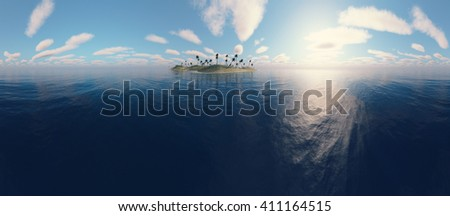 Panoramic view of a uninhabited island with palm trees. 3D Rendering. - stock photo