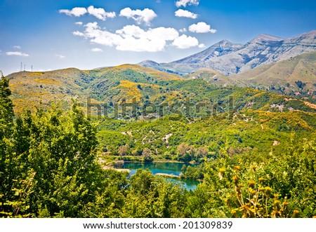 Panoramic view of beautiful nature lake in Gjirokaster region, Albania. - stock photo
