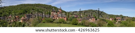 Panoramic view of Collonges-la-Rouge - beautiful red village in France. Collonges-la-Rouge is entirely built with red sandstone.