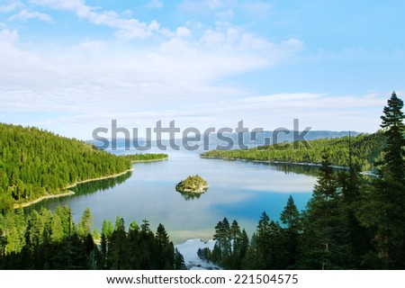 Panoramic view of nice lake with mountain on the back - stock photo