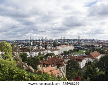Panoramic view of Prague from the Prague Castle,   Czech Republic,       - stock photo