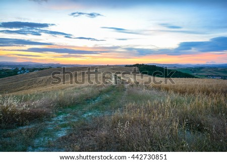 panoramic view of the Tuscan countryside in the province of Siena in the small town of Asciano heart of crete. in the photo are no trademarks or recognizable people