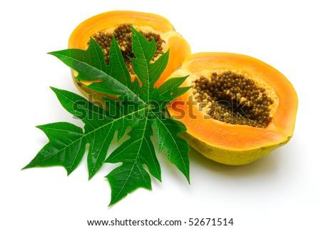 papaya and leaf  isolated - stock photo